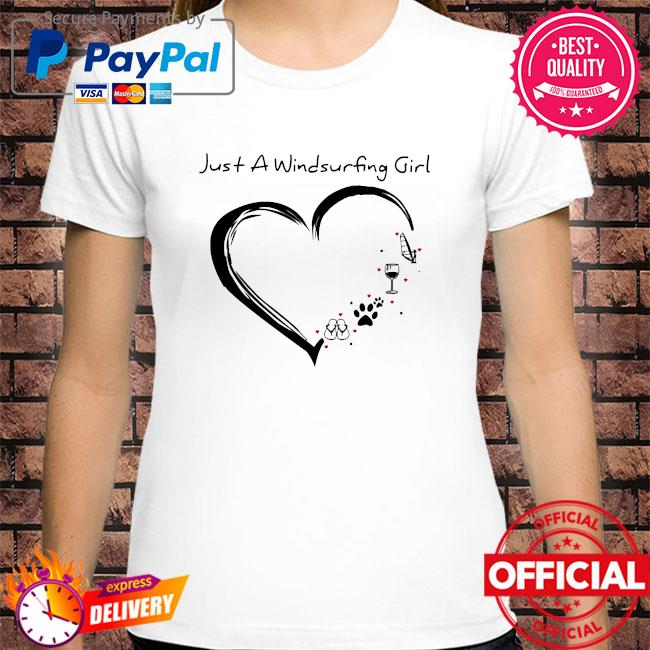 Heart just a windsurfing wine dog paw and flip flop shirt