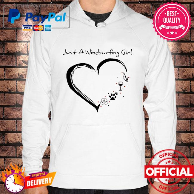 Heart just a windsurfing wine dog paw and flip flop s Hoodie white