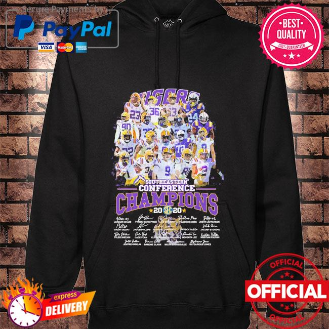 LSU Tigers southeastern conference champions 2020 signatures hoodie black