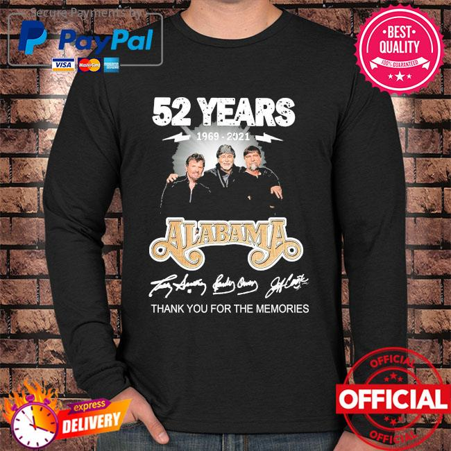 Official 52 years Alabama thank you for the memories signatures Long sleeve black