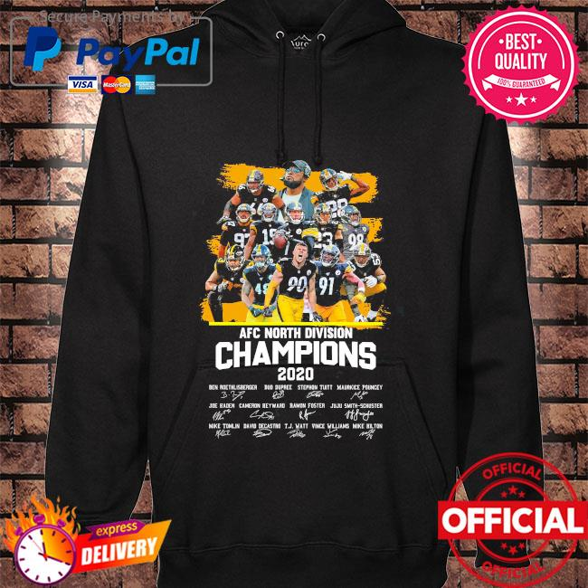 Pittsburgh Steelers afc north division champion 2020 signatures hoodie black