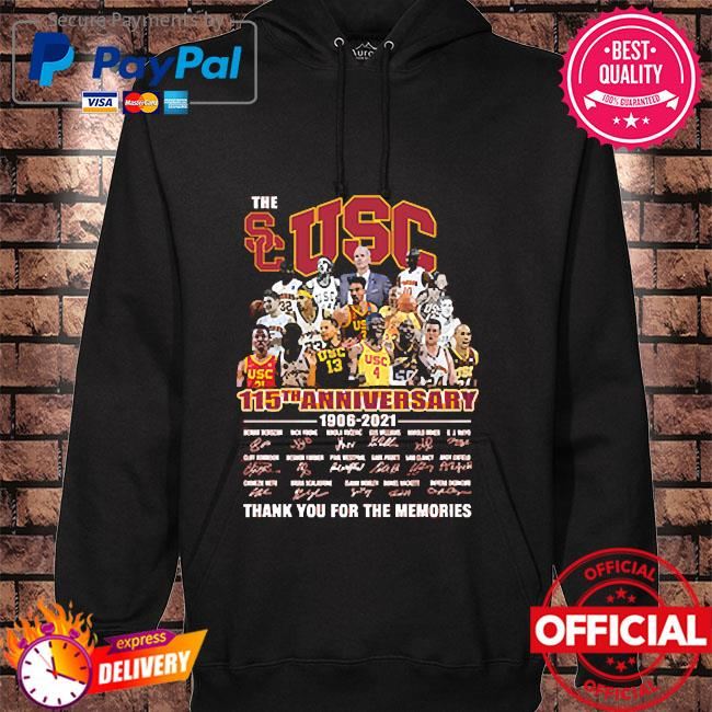The Usc 115th anniversary thank you for the memories signatures hoodie black