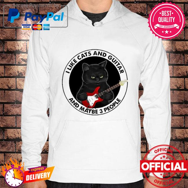 Black Cat I like cats and guitar and maybe 3 people Hoodie white