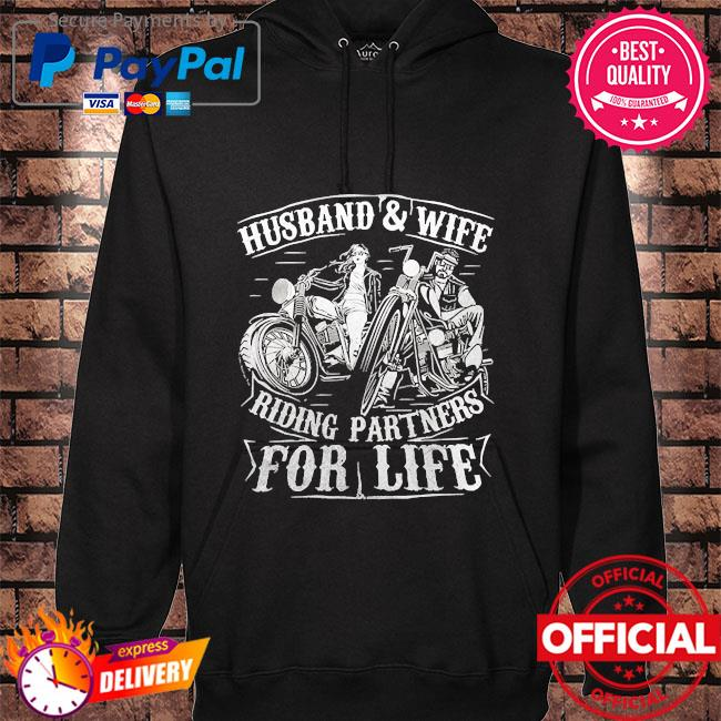 Husband wife riding partners for life matching couple biker hoodie black
