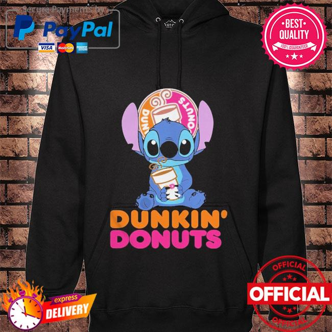 Official Baby stitch hug Dunkin' Donuts 2021 hoodie black