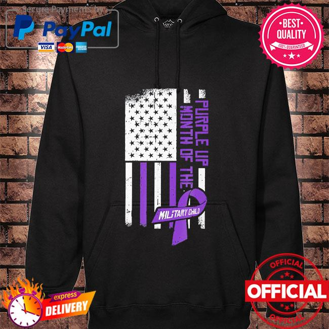 Purple up month of the military child American flag hoodie black
