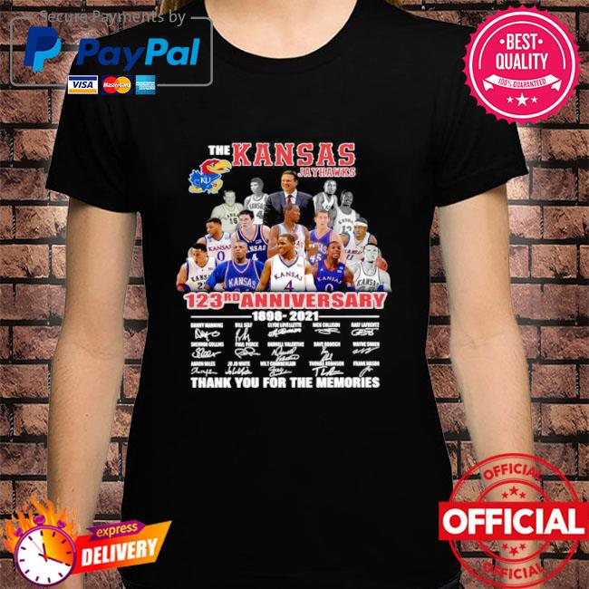 The Kansas jayhawks 123rd anniversary 1989 2021 thank you for the memories signatures shirt
