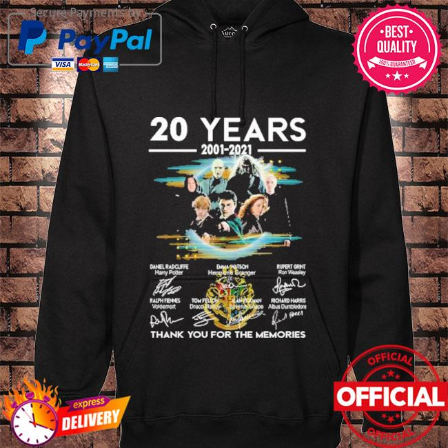 Official harry potter 20 years 2001-2021 signatures thank you for the memories s hoodie black