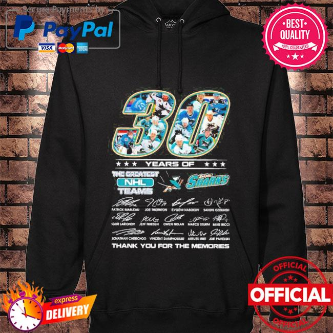 Official san jose sharks 30 years of the greatest nhl teams signatures thank you for the memories s hoodie black