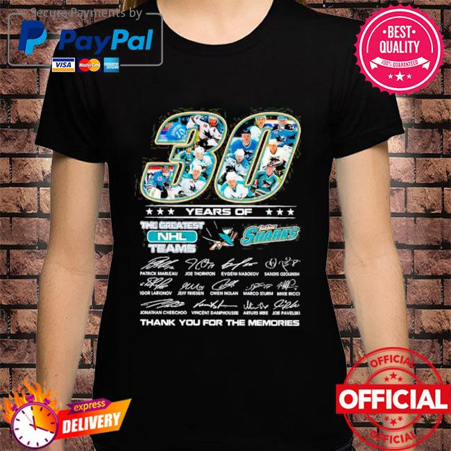 Official san jose sharks 30 years of the greatest nhl teams signatures thank you for the memories shirt