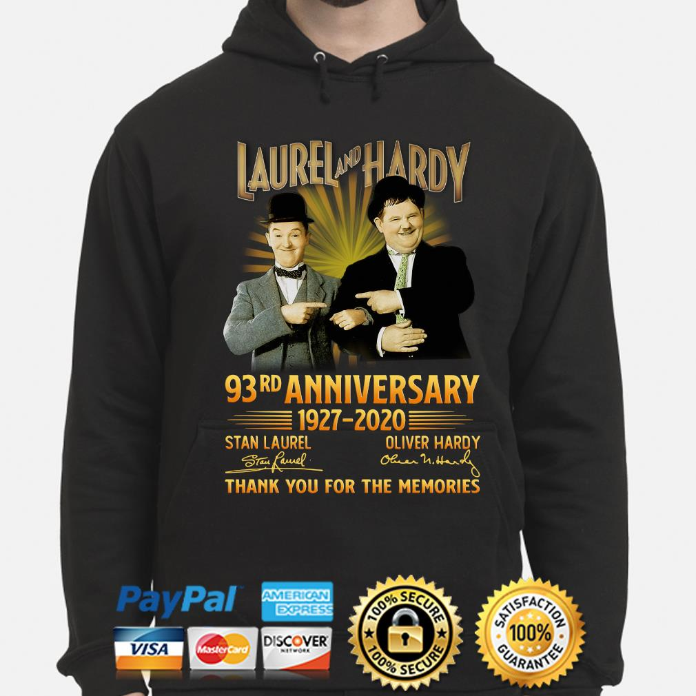 Laurel and Hardy 93rd anniversary thank you foe the memories signature s hoodie