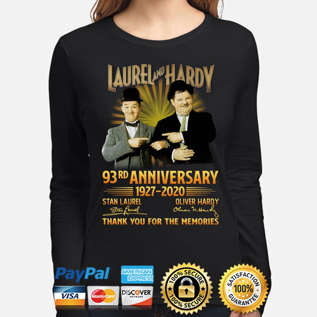 Laurel and Hardy 93rd anniversary thank you foe the memories signature s long-sleeve
