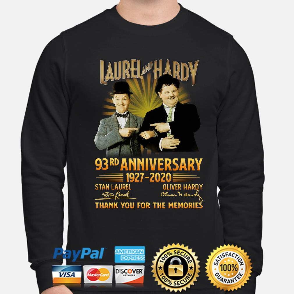 Laurel and Hardy 93rd anniversary thank you foe the memories signature s sweater