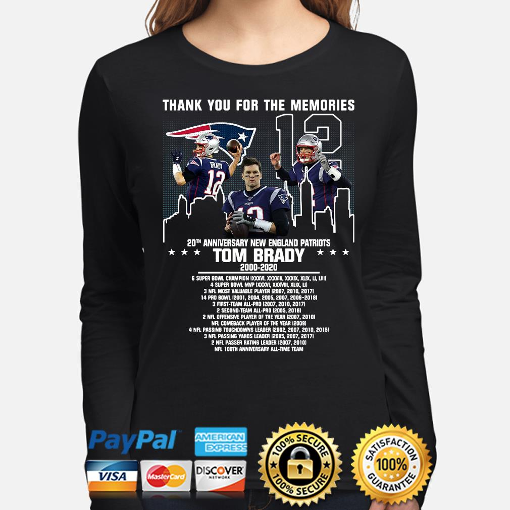 Thank you for the memories 20th anniversary New England Patriots Tom Brady s long-sleeve