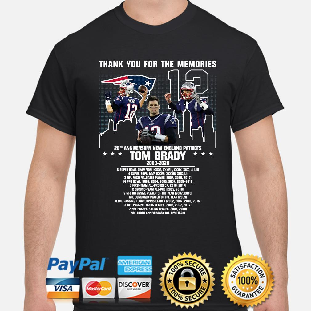 Thank you for the memories 20th anniversary New England Patriots Tom Brady shirt
