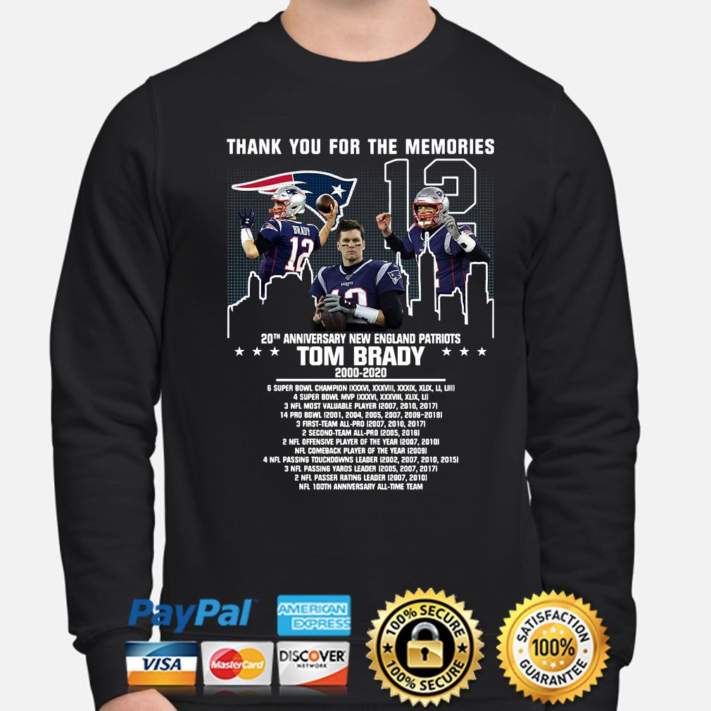 Thank you for the memories 20th anniversary New England Patriots Tom Brady s sweater