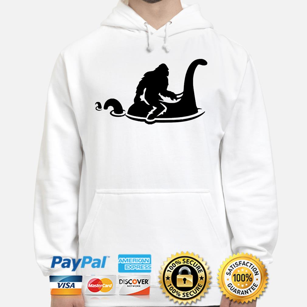 Funny Bigfoot Riding Nessie Sasquatch Loch Ness Monster s hoodie