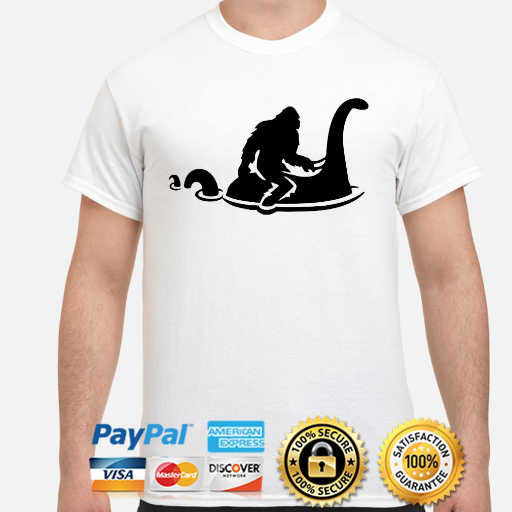 Funny Bigfoot Riding Nessie Sasquatch Loch Ness Monster shirt