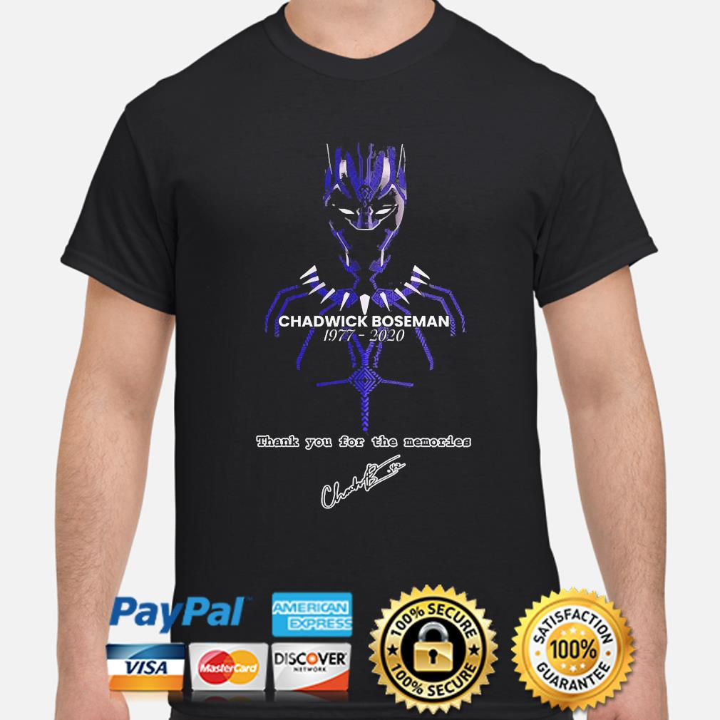 Chadwick Boseman of marvel thank you for the memories signature shirt