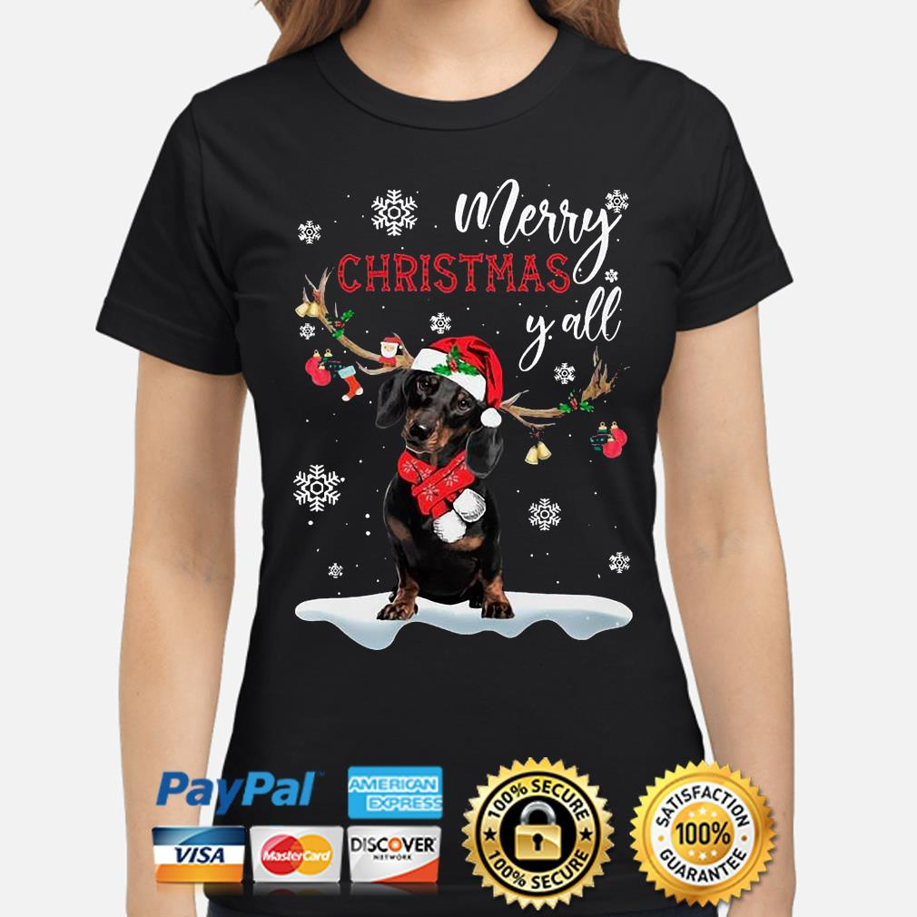 Dachshund Santa Reindeer Merry Christmas Y'all Sweats ladies-shirt