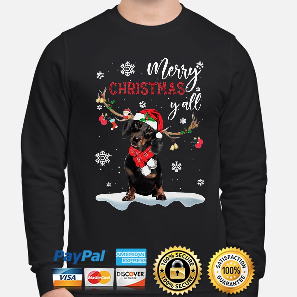 Dachshund Santa Reindeer Merry Christmas Y'all Sweats sweater