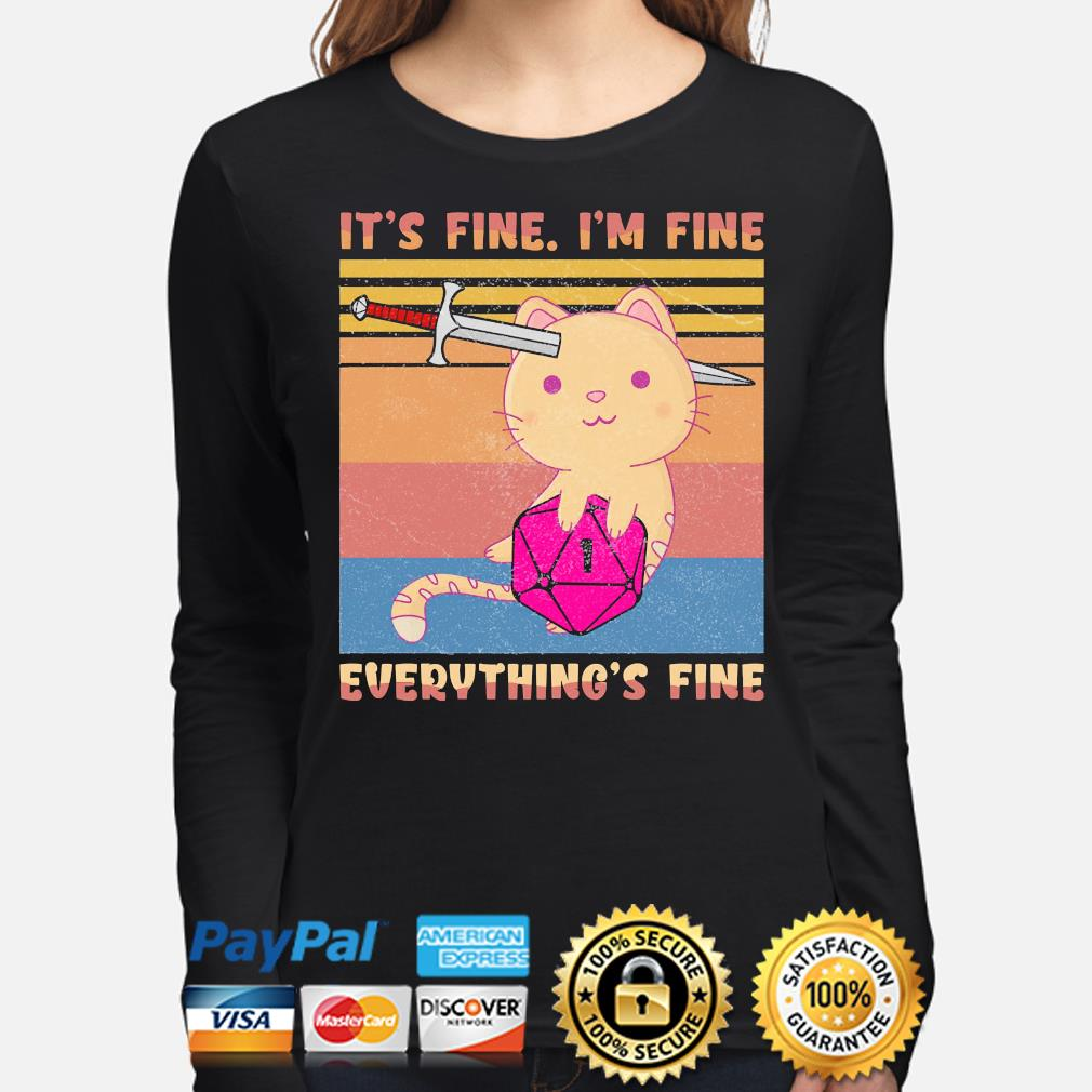 Dungeon meowster it's fine I'm fine everything fine vintage s long-sleeve