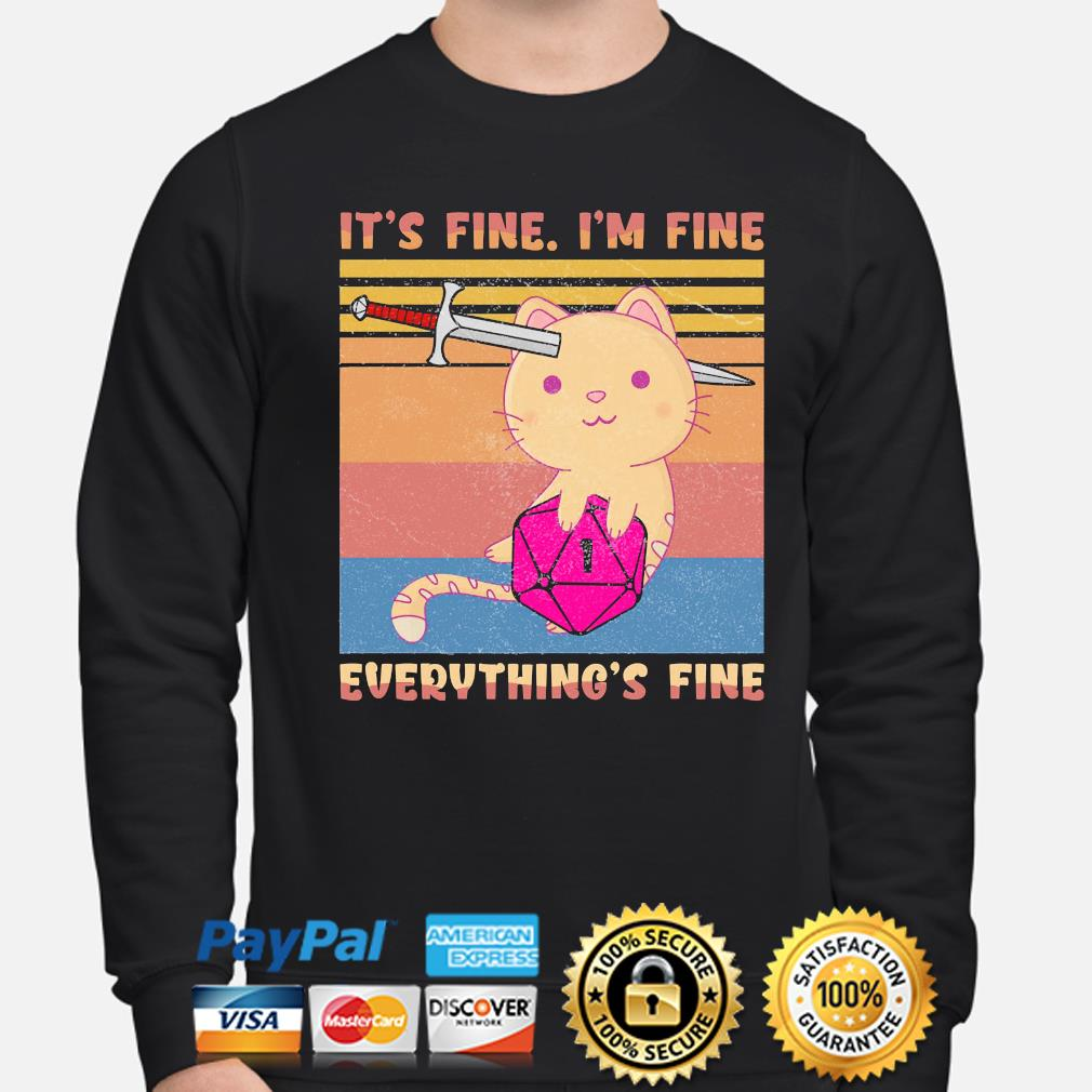 Dungeon meowster it's fine I'm fine everything fine vintage s sweater