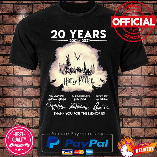 20 years of Harry Potter thank you for the memories signatures shirt
