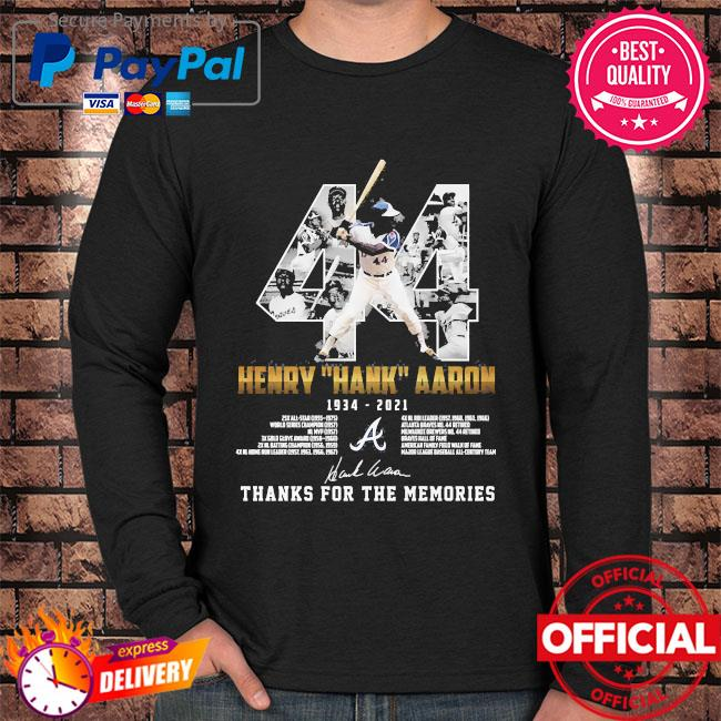 44 Henry Hank Aaron thank for the memories signatures s Long sleeve black