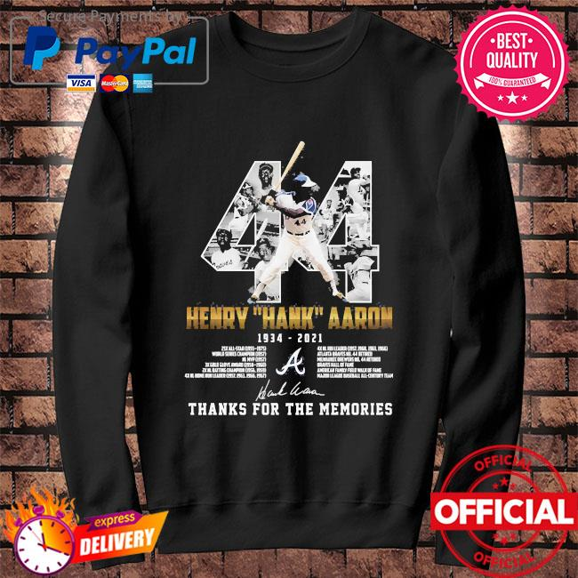 44 Henry Hank Aaron thank for the memories signatures s Sweater black