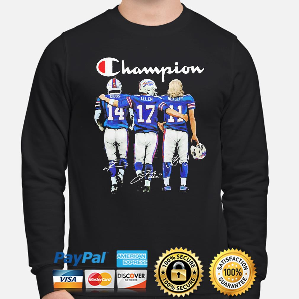 Buffalo Bills Diggs Allen And Beasley Champion signatures s sweater