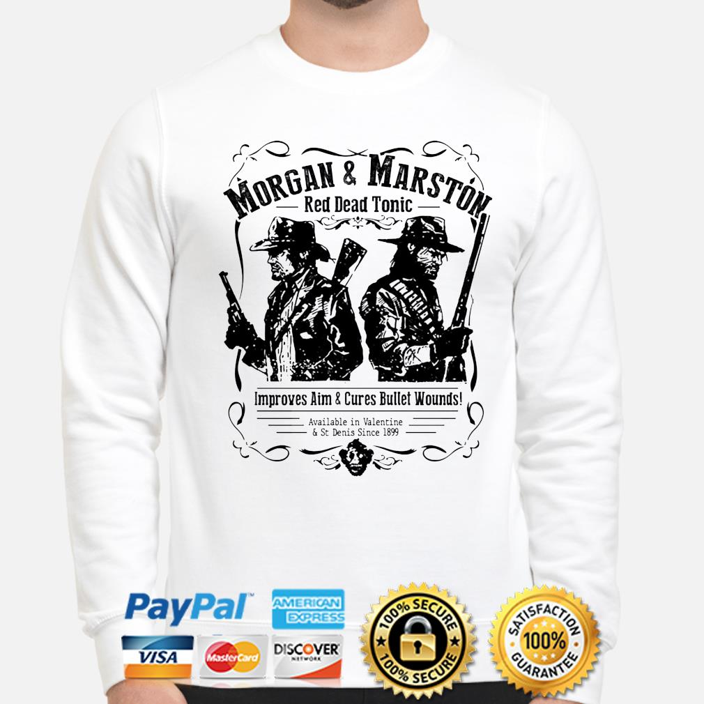 Morgan and Marston red dead tonic improves aim and Cures Bullet Wounds s sweater