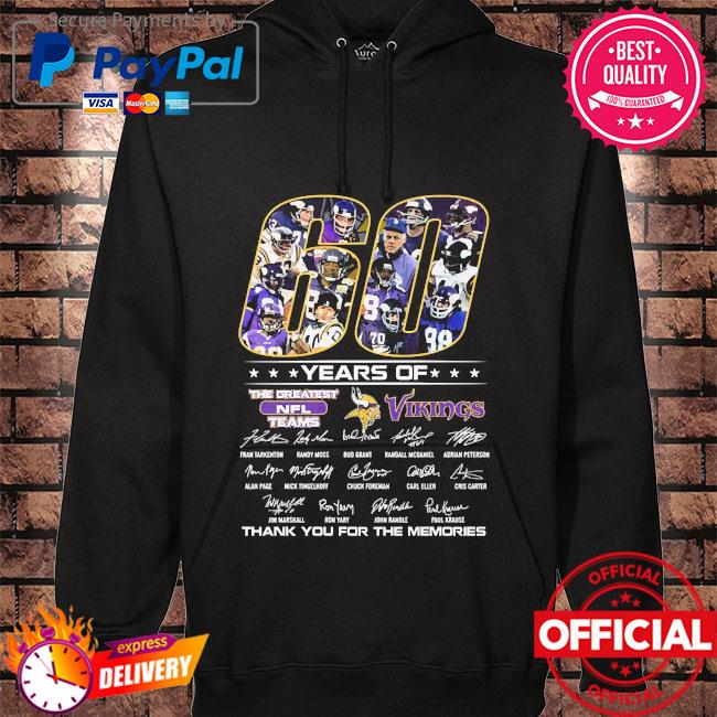 Official 60 years of The Greatest NFL teams Vikings thank you for the memories signatures s hoodie black