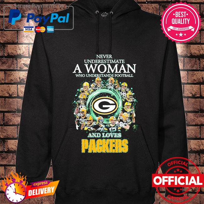 Official Never underestimate a woman who understands football and loves Packers signatures s hoodie black