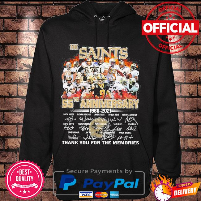 Official The Saints 55th anniversary thank you for the memories signatures s Hoodie black