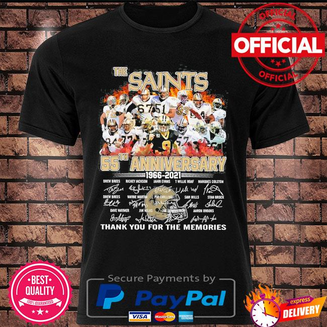 Official The Saints 55th anniversary thank you for the memories signatures shirt